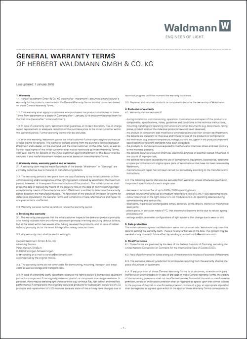 Waldmann Engineers Of Light General Business Terms