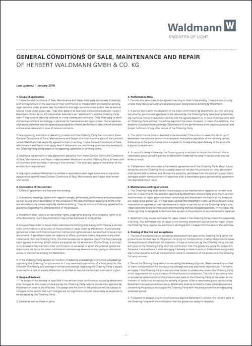 General Conditions of Sale, Maintenance and Repair