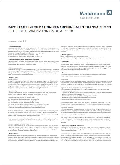 Important Information Regarding Sales Transactions